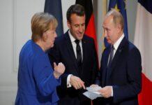Меркел, Макрон и Путин
