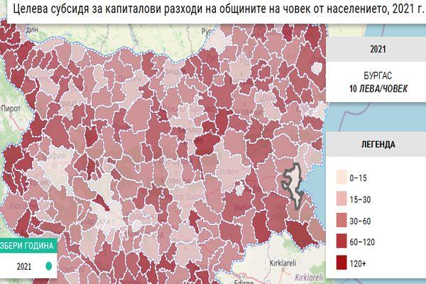 Най-малко в Бургас по 10, най-много в М.Търново - по 205 лв. на човек